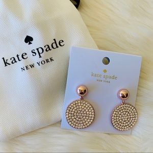 NWT Kate Spade Rose Gold Pave Disc Drop Earrings